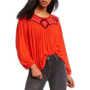 Free People Begonia Red Boho Embroidered Blouse